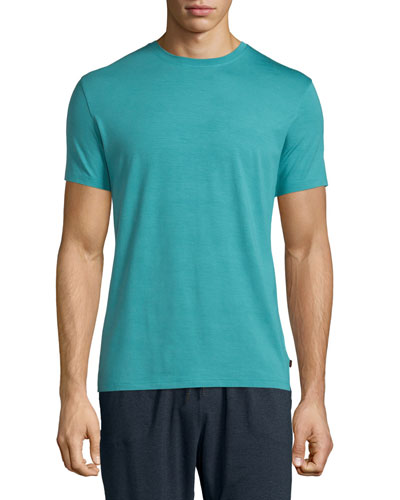 Short-Sleeve Stretch Knit Tee, Turquoise