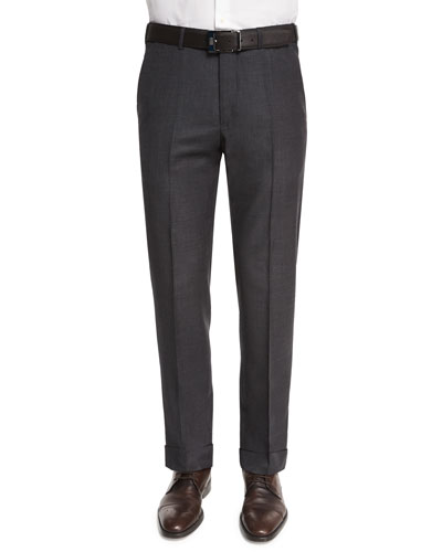 Flat-Front Wool Trousers, Charcoal