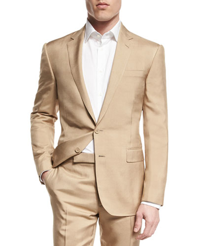 Anthony Solid Two-Piece Wool Suit, Tan