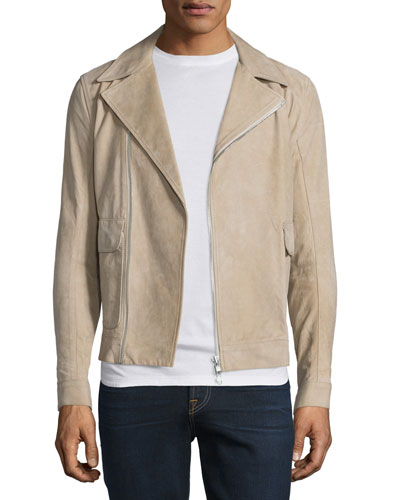 Distressed Nubuck Leather Jacket, Dark Sand