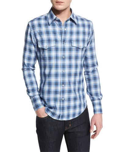 Western-Style Check Sport Shirt, Blue
