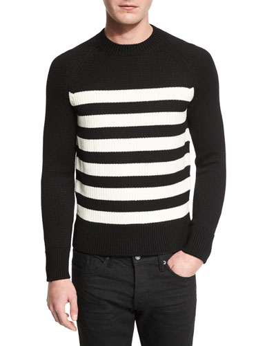 Textured-Stripe Ribbed Crewneck Sweater, Black/White