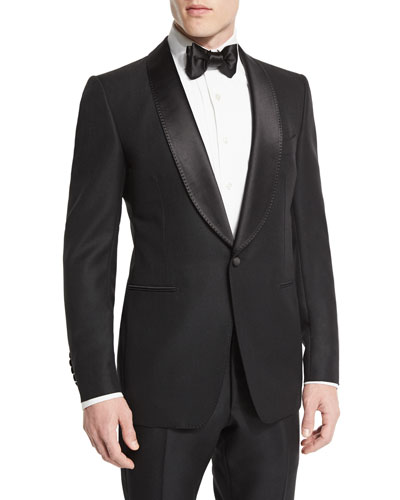 Buckley-Base Solid Tuxedo Jacket, Black