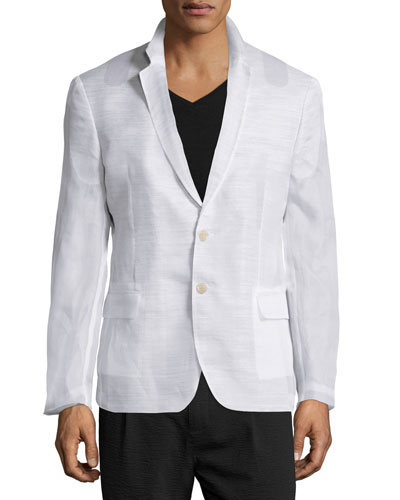 Notched-Lapel Two-Button Jacket, White