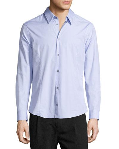 Button-Front Solid Dress Shirt, Lavender