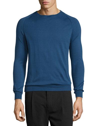 Long-Sleeve Crewneck Sweater, Indigo/Black