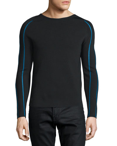 Striped-Sleeve Slim-Fit Sweater, Royal/Black
