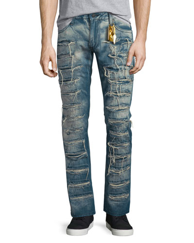Super Distressed Denim Jeans, Blue