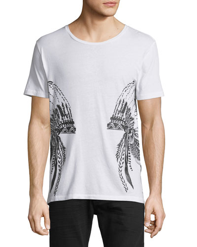 Headdress-Graphic Short-Sleeve T-Shirt, White