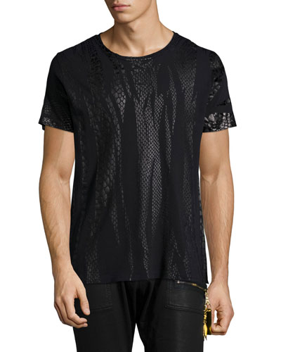 Short-Sleeve Shirt with Foil-Print, Black
