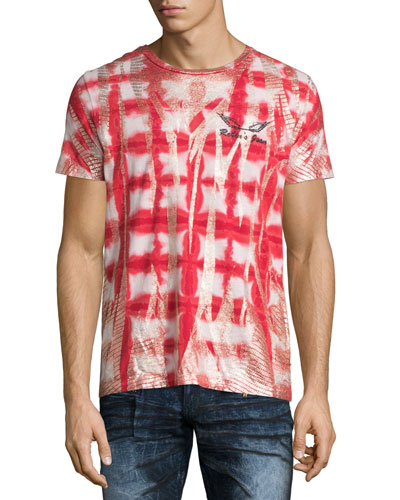 Coated Tie-Dye Short-Sleeve T-Shirt, Red