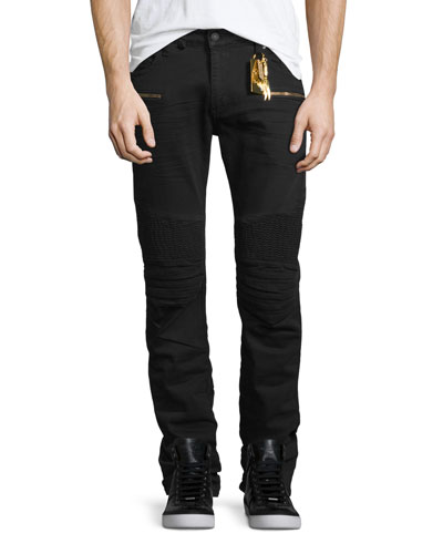 Slim-Fit Moto Biker Jeans, Black