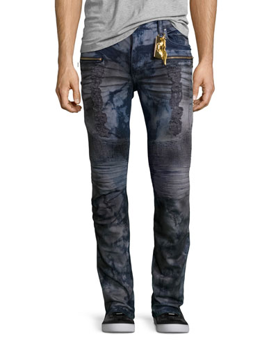 Distressed Dirty-Wash Moto Jeans, Blue