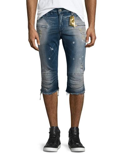 Motard Distressed Past-Knee Denim Shorts, Blue