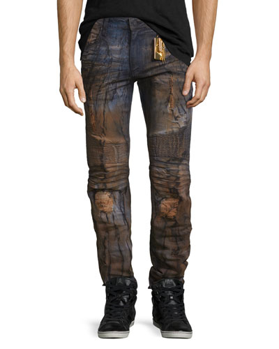 Distressed Slim-Fit Moto Jeans, Blue