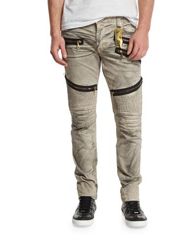 Biker Zip-Detail Ribbed Moto Jeans, Beige