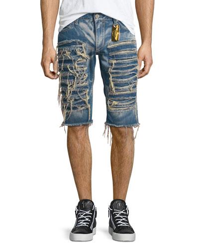 Distressed Slim-Fit Shorts, Light Blue