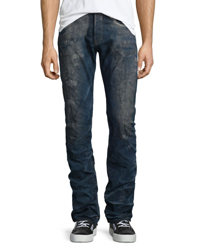 Barracuda Distressed-Wash Denim Jeans, Dark Blue
