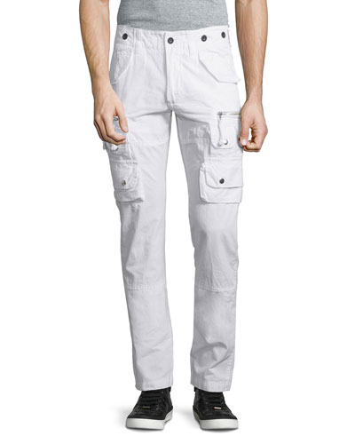 Slim-Fit Cargo Pants, White