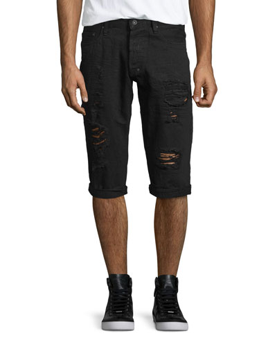 Distressed Slim-Fit Denim Shorts, Black