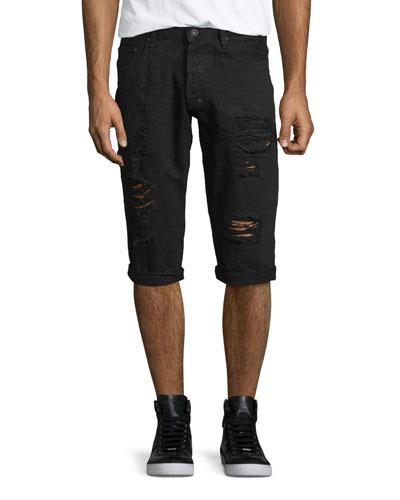 Distressed Slim-Fit Denim Shorts, Black