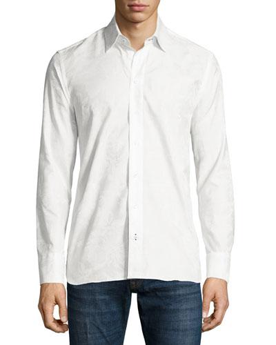 Tonal Floral-Print Jacquard Sport Shirt, White
