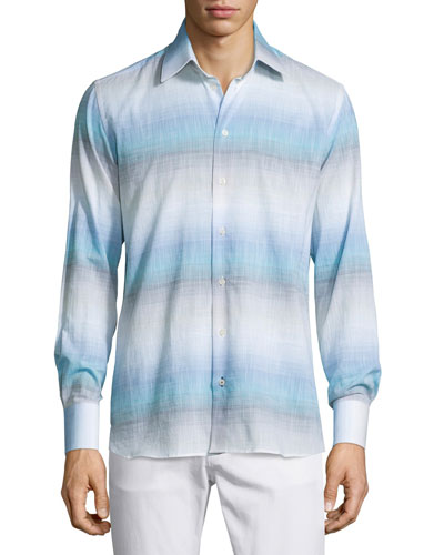 Ombre-Stripe Long-Sleeve Sport Shirt, Blue Pattern