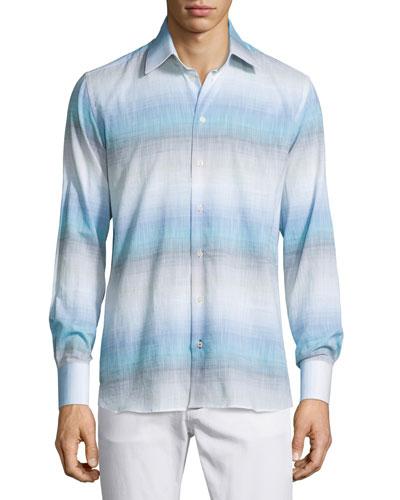 Ombre-Stripe Long-Sleeve Sport Shirt, Blue Pattern