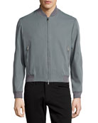 Zip-Front Bomber Jacket, Gray