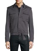 Long-Sleeve Woven Sports Jacket, Smoke Gray