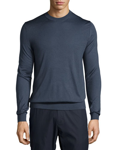 Berthes Admiral Cashmere-Blend Crewneck Sweater, Navy