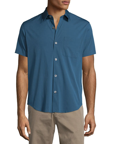Rammis S. Ostend Short-Sleeve Woven Shirt, Blue