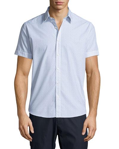 Coppolo C. Durhem Mini-Check Short-Sleeve Shirt, White