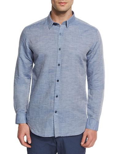 Zack PS Rotuma Linen-Blend Sport Shirt, Blue