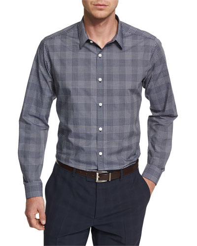Zack PS Kembla Mod Glen-Plaid Sport Shirt, Navy