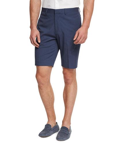Beck Boone Grid-Print Twill Dress Shorts, Navy