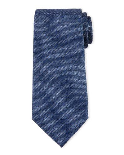 Striped Linen-Effect Silk Tie, Blue