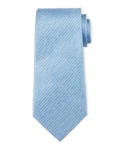 Striped Linen-Effect Silk Tie, Light Blue