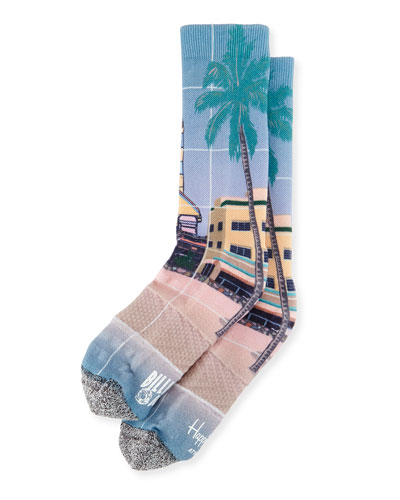 Palm Tree & Rocket Printed Knit Socks, Tan