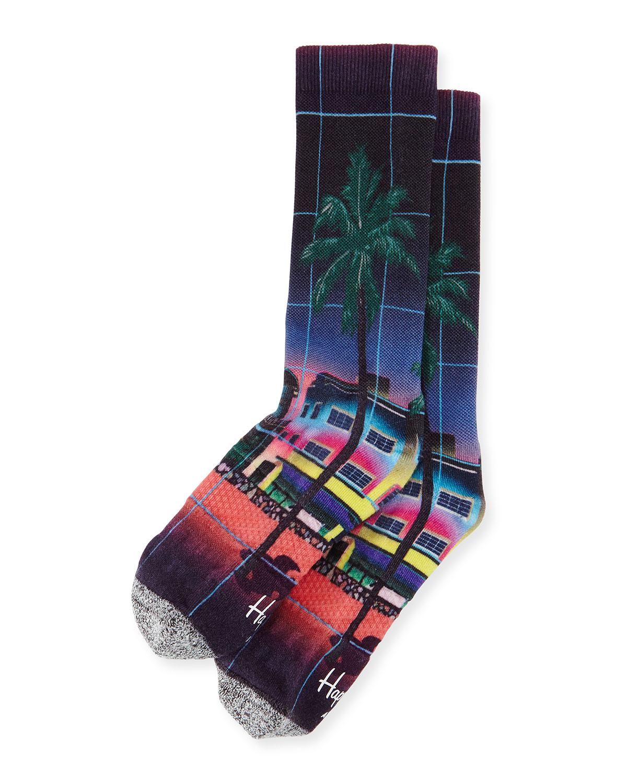Palm Tree & Rocket Printed Knit Socks, Black