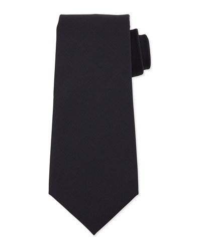 Textured Solid Silk Tie, Navy