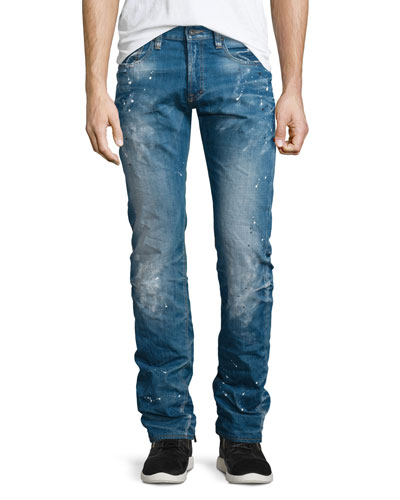 Demon Paint-Splatter Faded Denim Jeans, Medium Blue