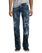 Barracuda Distressed & Bleached Denim Jeans, Blue