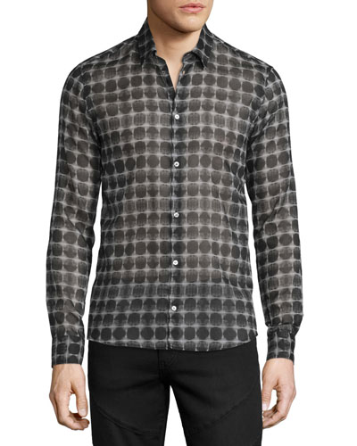 Button-Front Geometric-Print Dress Shirt, Black/Gray