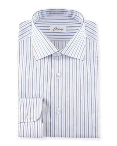 Striped Dress Shirt, Navy/Lavender