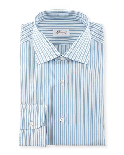 Pavone Striped Woven Dress Shirt, White/Blue