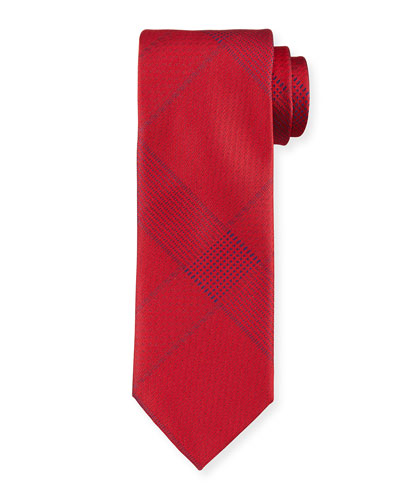 Solid Plaid Silk Tie