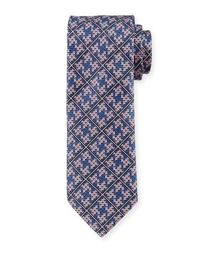 Plaid Diamond-Puzzle Silk Tie