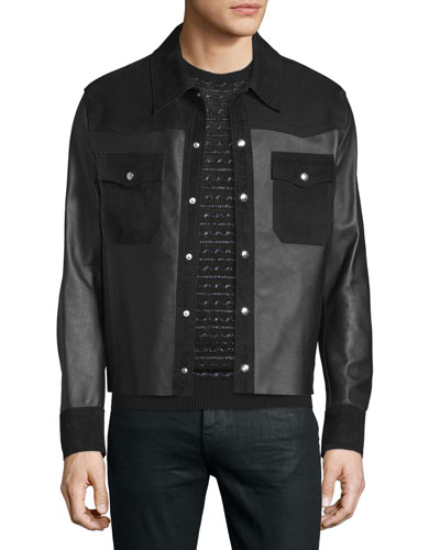 Kaban Snap-Front Leather Jacket, Black