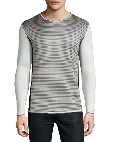 Long-Sleeve Striped-Front Sweater, Beige/Gray/Black
